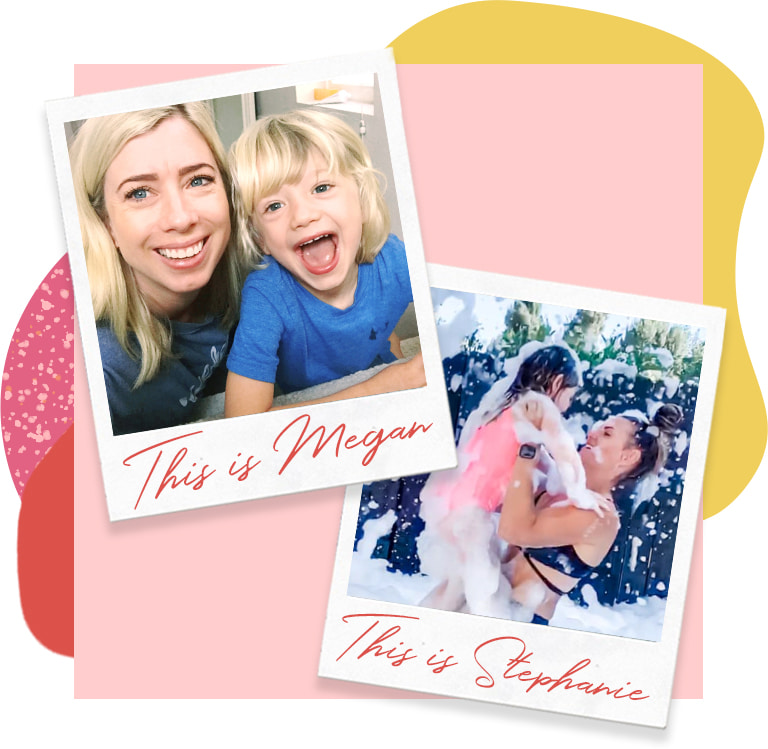polaroids of Megan and Stephanie with their children